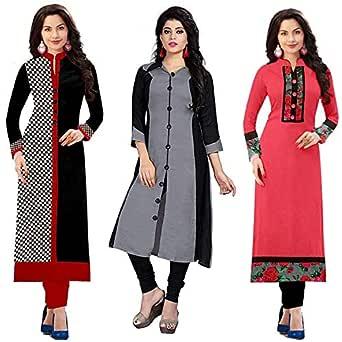 RAMDEV Women's Cotton Straight Kurta (Pack of 3) (03WHITERED17_Multi_Free Size)