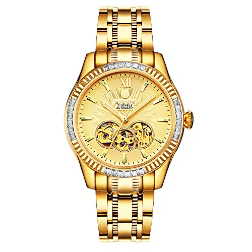 BINLUN Herren Analog Automatik Uhr mit Edelstahl Vergoldet Armband Leuchtend FBL0048G-GGB-B