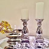 KATY Kerzenständer Kerzenleuchter Kerze Deko Keramik Silber Dekoration Shabby (2)