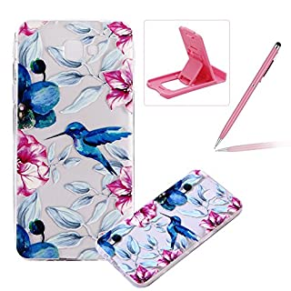 TPU Case for Samsung Galaxy J7 Prime,Clear Case for Samsung Galaxy J7 Prime,Herzzer Ultra Slim Stylish [Woodpecker Flower Pattern] Soft Silicone Gel Bumper Cover Flexible Crystal Transparent Skin Protective Case for Samsung Galaxy J7 Prime + 1 x Free Pink Cellphone Kickstand + 1 x Free Pink Stylus Pen