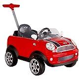 ROLLPLAY Push Car mit ausziehbarer Fußstütze und Pedale, Für Kinder ab 1 Jahr, Bis max. 20 kg, MINI Cooper, Rot
