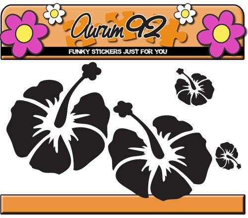 48 x Hibiscus Blume Aufkleber in schwarz - Auto Aufkleber Set (Hibiscus Blume Decal)