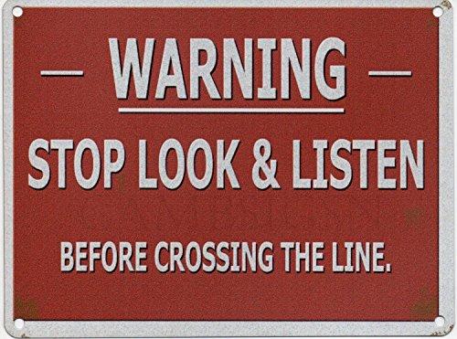Stop, Look & Listen Prima Attraversando Il Line. Vecchio retrò vintage segnale di pericolo da ferrovia Metallo/Targa Da Parete In Acciaio - 15 x 20 cm