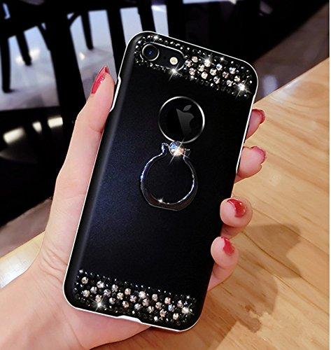 JAWSEU Coque Étui pour iPhone 5/5S/SE Ttansparent Ultra Mince TPU Portable Coque Avant et arrière 360 degrés de protection avec Brillant Bling Glitter Sparkle Pailletee,2017 Neuf Style Changement Grad noir/ring