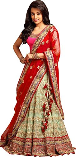 Magneitta Women's Fashion Georgette and Net Lehenga Choli (93089_Multi-Coloured) (Red)