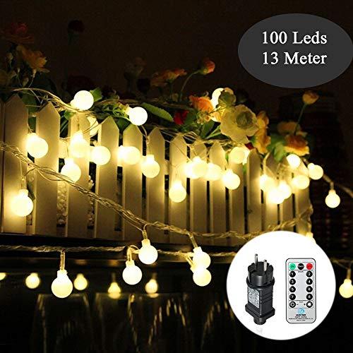 Kugel Lichterkette 100Leds 13m 8Modi Tomshine Outdoor