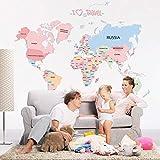 ملصق حائط على شكل خريطة العالم لتزيين المنزل والحائط
