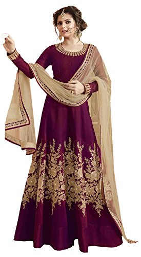 Clickedia Womens Brasso & Net Anarkali Dress Material (Purple Anarkali -Purple -Free Size)