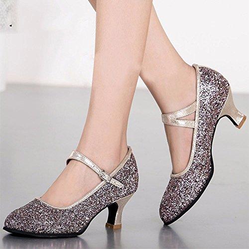 DSAAA Girl Dance Latina calzatura outdoor Scarpe moderne paillettes in gomma in stile Europeo Colore