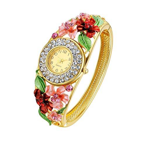 Frauen Quarz Armbanduhr Gold überzogenes Buntes Blumen Legierungs Armreif Armband Mit Kristall für Mädchen Valentinsgruß Geburtstag Weihnachtshochzeits Tagesgeschenk