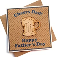 Father's Day Card - Rustic Wooden Beer Pint Glass – Handmade Cheers Cards for Fathers