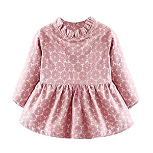 HOT SALE!!Woaills 1PC Dress + 1PC Bag Clothes,Newborn Baby Girl Print Warm Long Sleeve Princess Outfits (Pink, 6M)