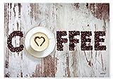 Tischsets Platzsets abwaschbar Heart of Coffee von ARTIPICS 4 Stück Kunststoff 42x30 cm