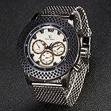 Fenkoo Herren Armbanduhr Japanischer Quartz Edelstahl Band Silber Marke- V6