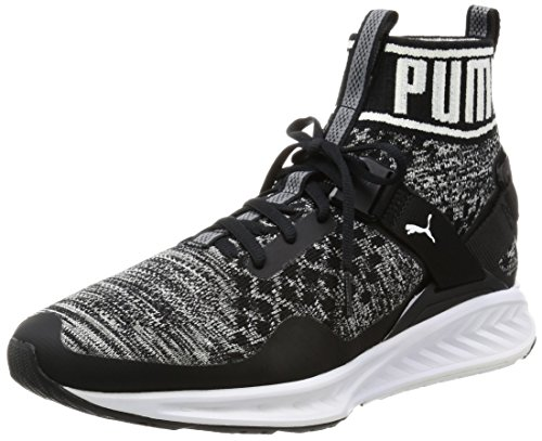 Puma ignite evoknit, scarpe sportive outdoor unisex-adulto, nero (black-quiet shade-white), 44.5 eu