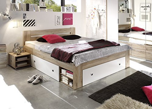 Avanti trendstore - letto futon, colore quercia san remo/bianco, ca. 140x200cm