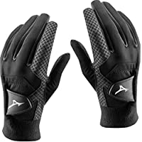 Pair of 2018 Mizuno ThermaGrip Mens Thermal Playing Golf Gloves Black Medium/Large
