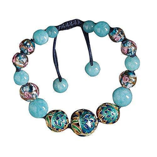 Bracelets Charm Bleu Clair Cloisonné Bracelet Verre Cristal Coloré