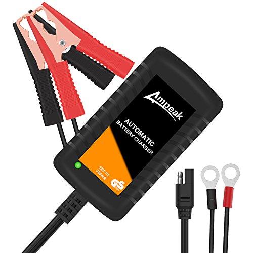 Ampeak Cargador de Baterías, 12V Mantenimiento Automático e Inteligente con Múltiples Protecciones mantenedor para Auto, Moto y más