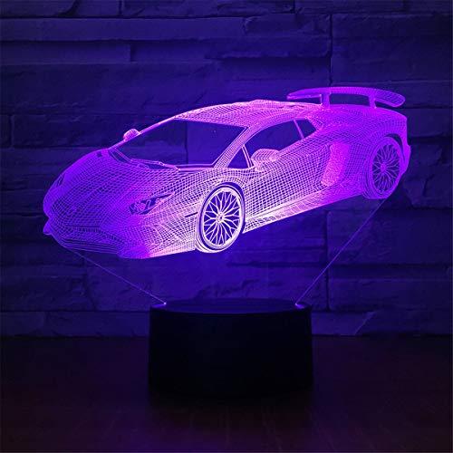 USB-Stromversorgung Dekorativ Auto 7 Farben ändern optische Illusion Nachtlicht Touch Tisch Schreibtisch Lampen 3D Leuchten LED Lampe Kunst Skulptur neben Lichtern Tragbare Schlaflicht Kinder Geschenk (Auto Led-leuchten)