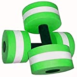 The Wolf Moon®Water Aerobic Exercise Foam Dumbbells Pool Resistance 1 Pair, Water Fitness Exercises Equipment for Weight Loss Green with carry bag