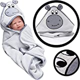 Kaputzbadetuch mit fröhlichem Tiergesicht 100% Baumwoll Frottee Kinder Handtuch Baby Badetuch (NILPFERD)