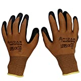 #7: TheCoolio Midas Safety Brown Shell with Black Crinkle Finish Latex Coating Gloves (Medium Size)