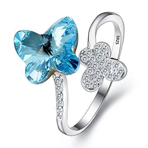 Clearine anello 925 argento anello cocktail regolabile farfalla adornato con swarovski cristallo aquamarine colore