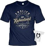 Rentner-Sprüche Tshirt lustiges Geschenk Ruhestand : Endlich IM Ruhestand Jetzt Offiziell - Rentner-Shirt Motiv/Spruch Rente + Mini Flaschenshirt Gr: L