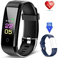 Fitness Trackers- Activity Tracker Watch with Heart Rate Blood Pressure Monitor, Waterproof Watch with Sleep Monitor, Calorie Step Counter Watch for kids Women Men Compatible Android iPhone Smartphone