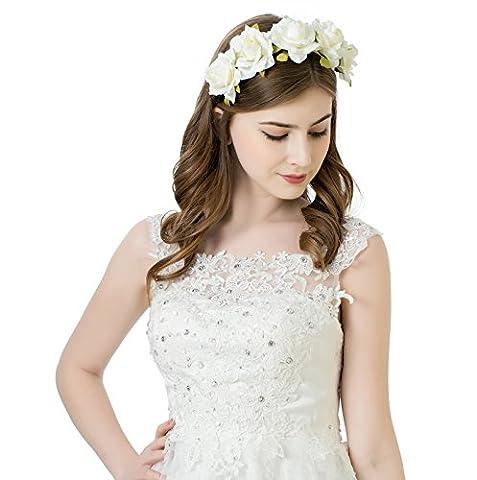 AWAYTR Mädchen Braut Blumenkrone Stirnband Haarband Blumen Girlande Kopfstück zum Hochzeit Parteien (Cremeweiß)