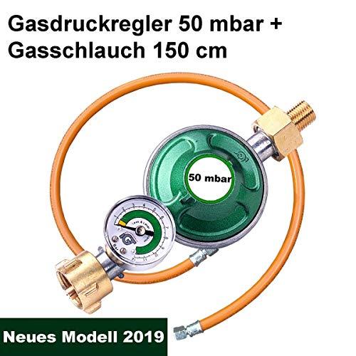 CAGO Gasregler 50 mbar mit Manometer Gas Füllstandsanzeige Schlauchbruchsicherung Propangas Druckminderer Druckregler Camping Propan Butan Gas-Schlauch 150cm
