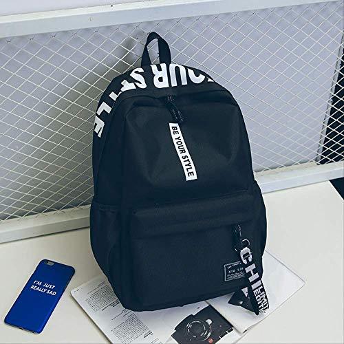 K&KNeue Leinwand Schultertasche Koreanische Version Der Mode Trend High School Rucksack Frauen Reisetasche Junior High School Schüler Tasche Großhandel Schwarz mit weiß -