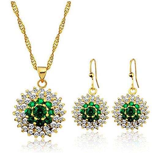 couleur verte Collier en cristal de zircon Edelweiss pendentif tournesol et boucles d'oreilles Ensemble de bijoux, Le meilleur cadeau pour la mère femme femmes grand-mère