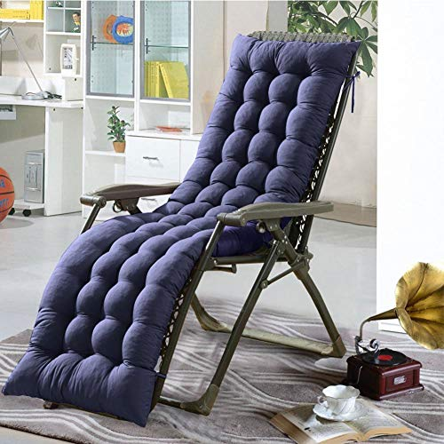 Iseasy cuscini per sdraio casa cuscino sdraio imbottita relax 155 cm in 5 colori, cuscino imbottito lettino relax soggiorno salotto sala spiaggia sdraio cortile terrazzo(blu)