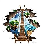 Vitila Kreative Rutschfeste Aufkleber Dekoration Wohnzimmer Schlafzimmer Bad Persönlichkeit 3D Wandaufkleber Schwimmende Insel Hängebrücke Selbstklebende Poster Pvc Abnehmbare Tapete