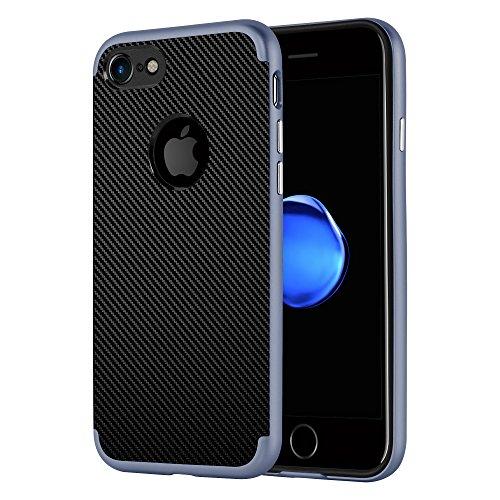 Preisvergleich Produktbild Cadorabo Hülle für Apple iPhone 7 / iPhone 7S - Hülle in Carbon Silber – Handyhülle aus TPU Silikon im Karbongewebe Design - Silikonhülle Schutzhülle Ultra Slim Soft Back Cover Case Bumper