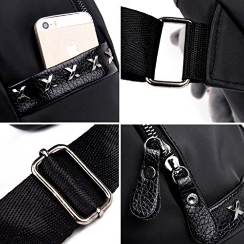 MSXUAN Neu Mode Nylon Rucksack Freizeit Oxford Tuch Schultertasche Damen M020DE-Schwarz