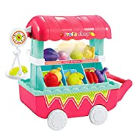 Kids Play House Musical Light Pretend Play Food Plastic Fruit Cart ToysFeatures:encourage and stimulate kid's hands-on ability, exercise finger flexibility and develop intelligence, early learning structural knowledgeHigh Eco-friendly Materia...