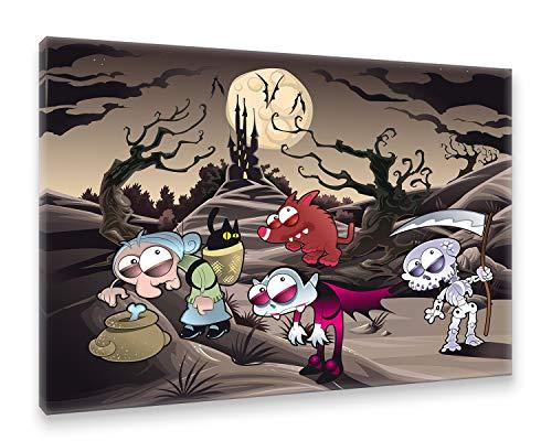 Postereck - Premium Leinwand - 1394 - Horror Märchen, Kinder Halloween Zauber Vampir Hexe - Größe 75,0 cm x 50,0 - Holz Märchen Kostüm