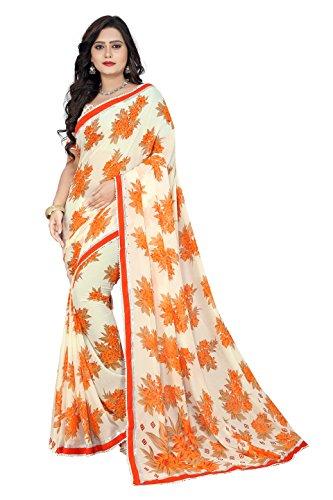 Jaanvi Fashion Women's Georgette Printed Saree (Orange)