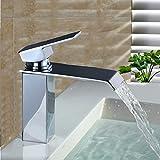Homelody® Chrom Einhebel Wasserhahn Waschtischarmatur Wasserfall Einhebelmischer Armatur  Mischbatterie Waschtischmischer Badarmatur für Waschtisch Waschbecken Bad