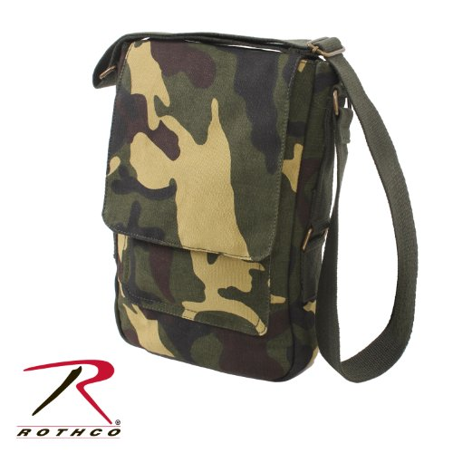 Rothco Men's Vintage Canvas Military Tech Bag Woodland Camo Brown -