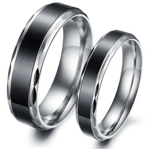 iLove EU Edelstahl Ring Bandring Silber Schwarz Hochzeit Wedding Eheringe Engagement Verlobungsringe Lieben Valentinstag Paar Retro Herren,Damen