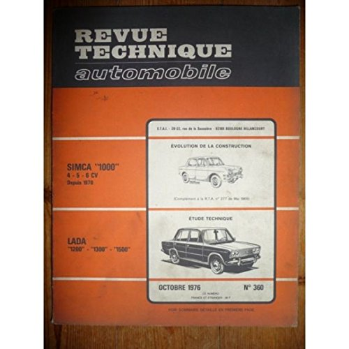 RTA0360 - REVUE TECHNIQUE AUTOMOBILE LADA 1200 - 1300 - 1500