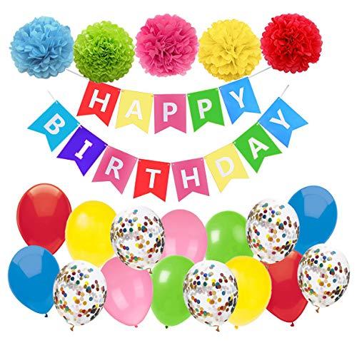 stag Deko Bunt Happy Birthday Girlande mit Pompoms und Luftballons Bunt Konfetti Luftballons Für Geburtstag Partydeko Mädchen Jungen ()