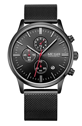 megir Mesh Band Uhren Fashion Luminous 6-hand Analog Chronograph 3 ATM Wasserdicht Quarz Uhren
