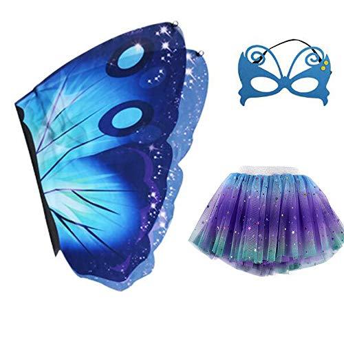 Kostüm Tutu Feen - Mädchen-Kostüm mit Feen-Schmetterlingsflügeln und Tutu-Kleid, Maske, für Halloween, Party, Buttterfly, Umhang für Cosplay, Kostüm, für Kinder von 3-8 Jahren Gr. One Size, a
