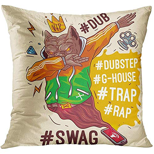 gthytjhv OUDNF Wurfkissenbezug Black Hip Staffordshire Terrier Rap Gangster Swag Pitbull Holds Gold Chain in Hands Dog Hipster Rapper Decorative Pillow Case Home Decor Square 18x18 Inches Pillowcase