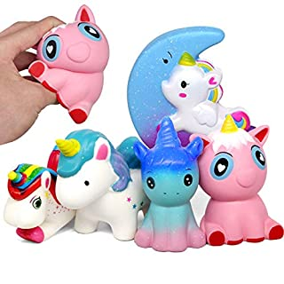 Amteker 5 Pack Slow Rising Unicorn Squishies - Kawaii Jumbo Scented Charms Hand Wrist Galaxy Giant Squishy Toys Stress Relief Pressure Large Squishy for Girls Boys Adults